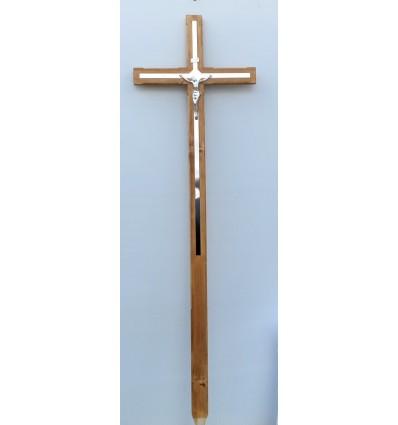 Krzyż drewniany duży z wstawkami metalowym